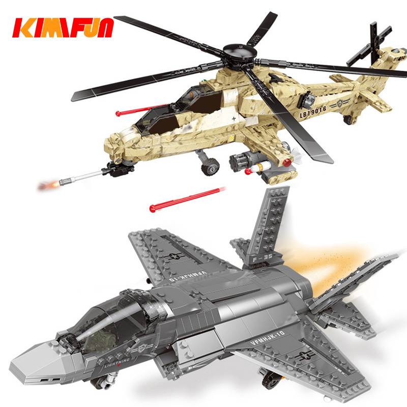 600pcs+ F35 Fighter Assemble Airplane Model Bricks Toys Building block Tool Sets Combat Aircraft Compatible with Blocks image