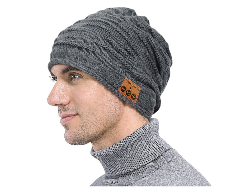 Bluetooth Beanie шляпа с перезаряжаемой унисекс беспроводной Beanies панель управления съемные стерео наушники шерсть вязать музыкальное бини