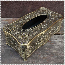 Europe metal mode drops of glue carved tissue box  napkin holder   home accessories bronze ZJH007