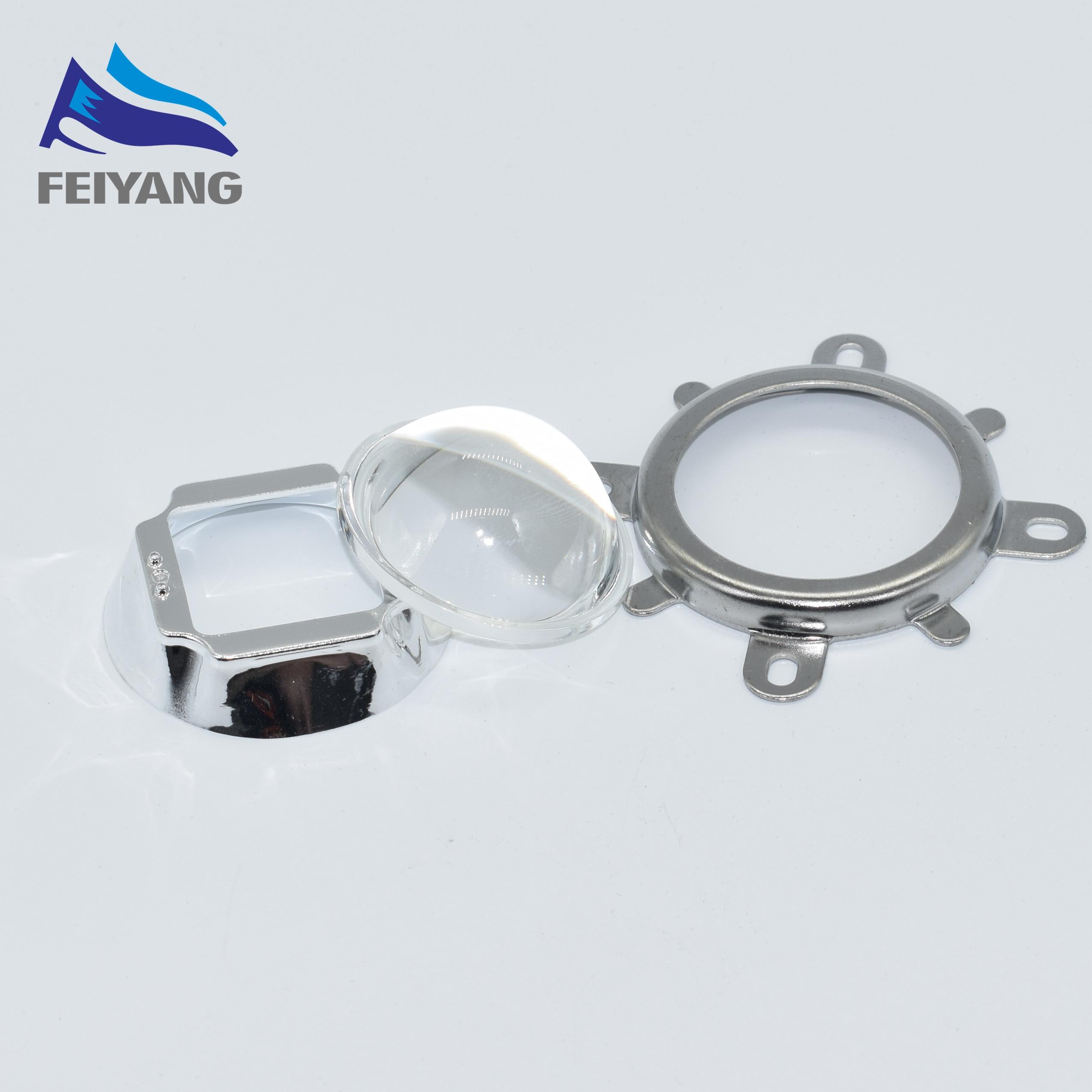 10Set/Lot High Quality 30W 50W 100W LED 44mm Lens + Reflector Collimator + Fixed Bracket Drop
