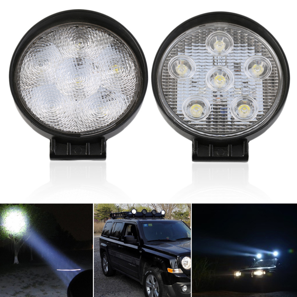 Newest 18W 6 LEDs Round 12V Spot/Flood Beam Work Lamp Light For Offroad Vehicles Low Power Consumption and Long Term Lasting