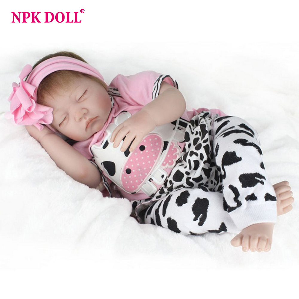 NPKDOLL 22'' 55cm Silicone Reborn Baby Doll Kids Accompany Newborn Realistic Dolls Baby Christmas Gift npkdoll 22 inch 55cm silicone reborn baby dolls with implanted mohair good price playmate christmas gift for children
