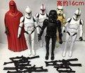 6 Unids/lote Figura de Star Wars Clone Trooper Stormtrooper Caballero Negro Darth Vader de Star Wars Figura de Acción con Pistola de Juguetes Juguetes