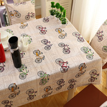 Senisaihon Korean Polyester Cotton Tablecloth Orange Cartoon Bicycle pattern Dustproof Children Dining Table cloth for Christmas