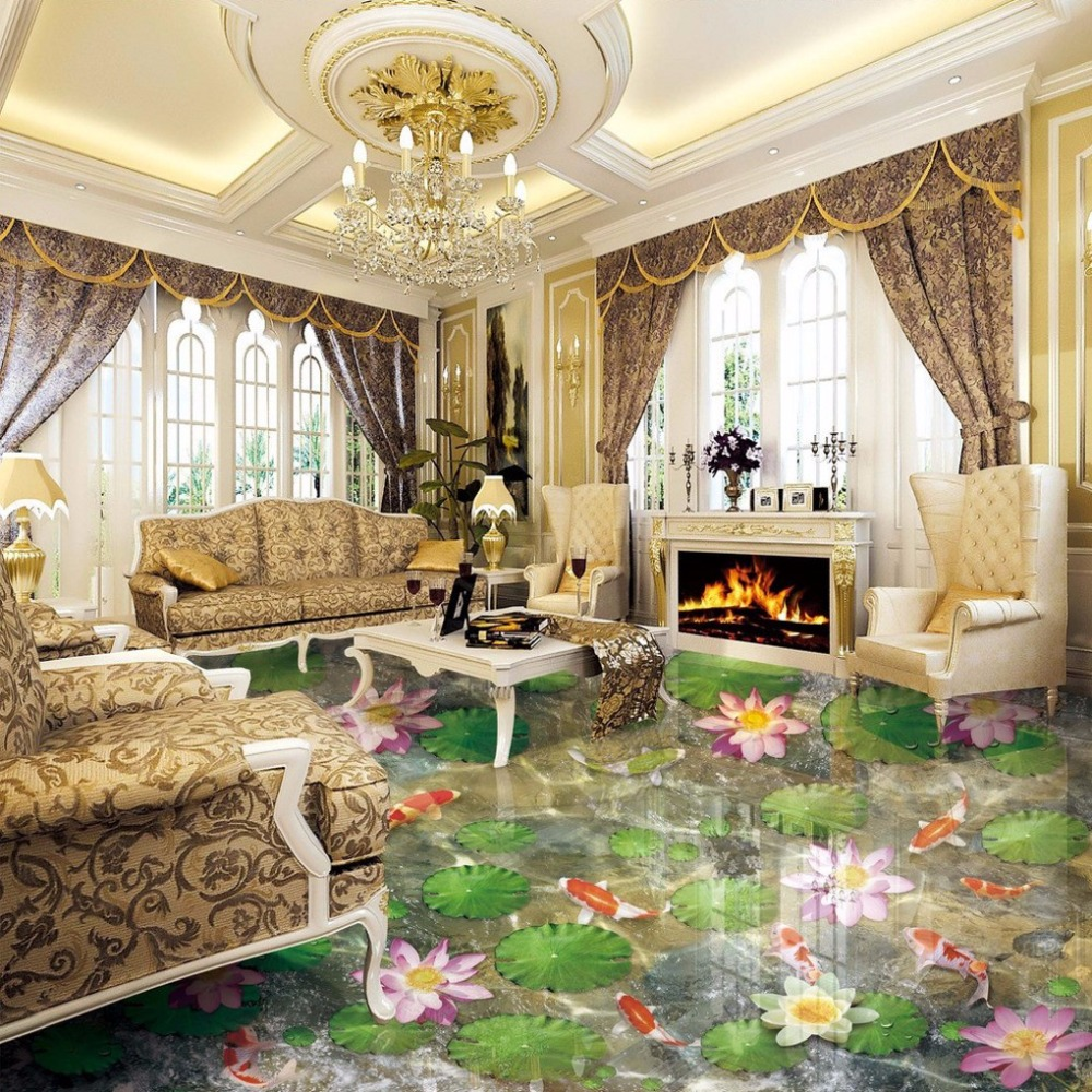Free Shipping Lotus Pond 3D flooring mural office dancing room self-adhesive wear floor wallpaper mural free shipping marble texture parquet flooring 3d floor home decoration self adhesive mural baby room bedroom wallpaper mural