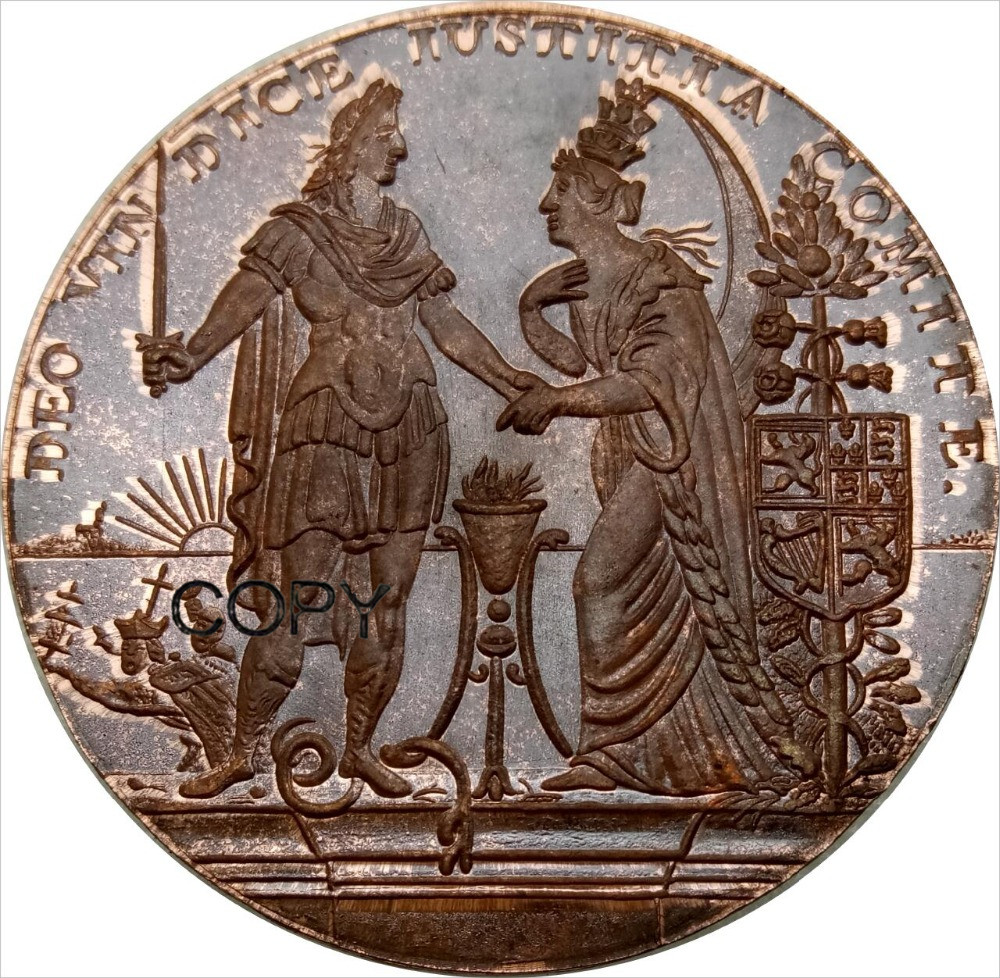 British Isles Gold medal from 1688 on the landing of William III in Torbay by R. Arondeaux. Red Copper Copy Coins-in Non-currency Coins from Home & Garden    1
