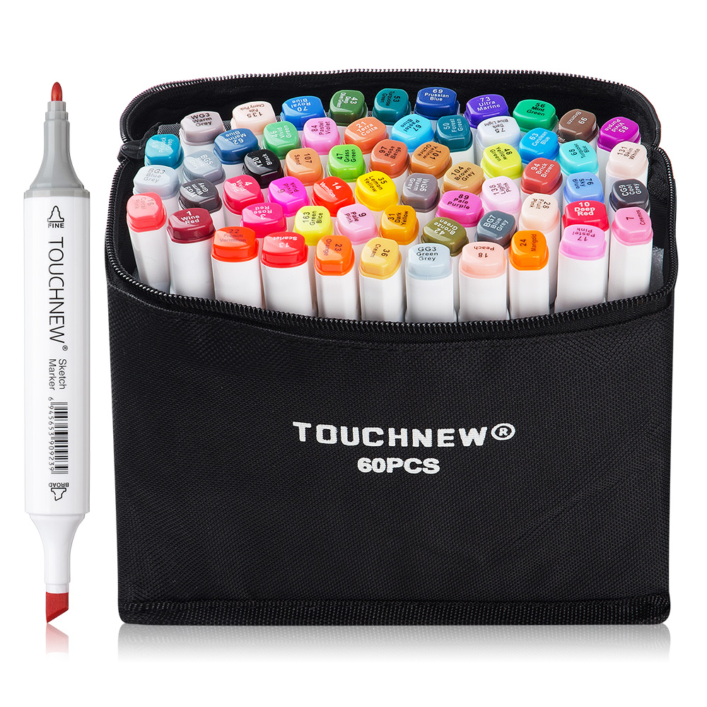 Touchnew 30/40/60/80 Coloured Alcohol Markers Art Drawing Manga Twin Tip Marker Pen Set+Carry Bag+Highlight Pen Art Supplies touchnew 72 colors alcohol based markers set dual tip sketch marker drawing pen coloring manga colori twinmarker art supplies
