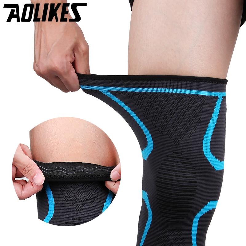 2 piezas Fitness elástico Nylon compresión baloncesto correr ciclismo rodilla de apoyo deportes tirantes manga voleibol proteger