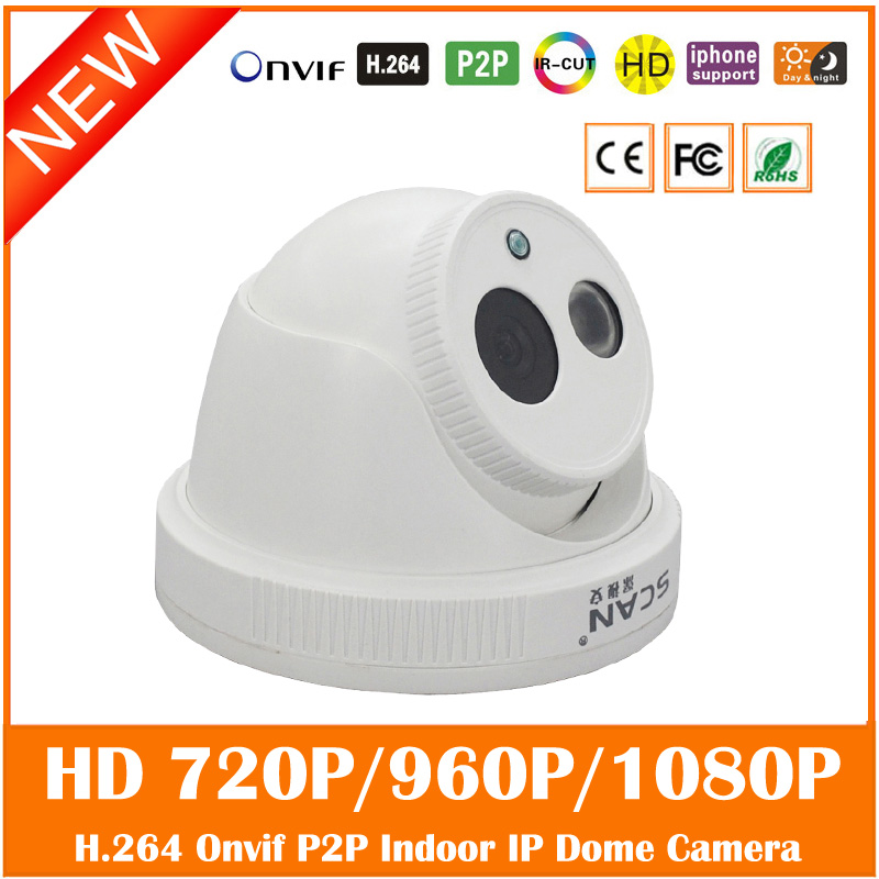 Hd 720p 960p 1080p Dome Ip Camera Infrared Indoor Night Vision Motion Detect Cctv Cmos White Webcam Surveillance Freeshipping hd sony exmor imx122 cmos 2 0mp ip camera 1080p color image night vision support onvif p2p motion detect indoor dome ip camera