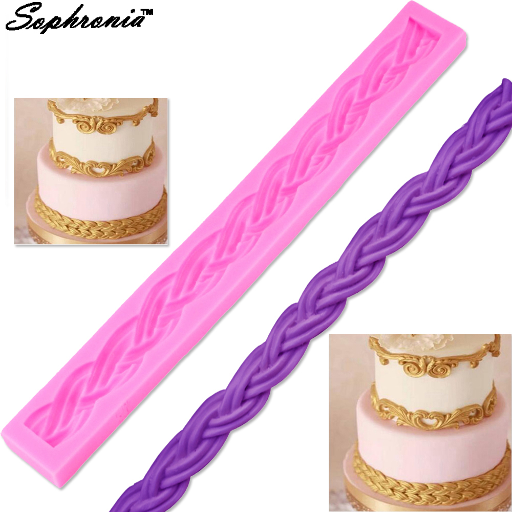 M663 1PCS Rope Shape Silicone Cake Mold, For Chocolate, Sugar, Cupcake, Decorating