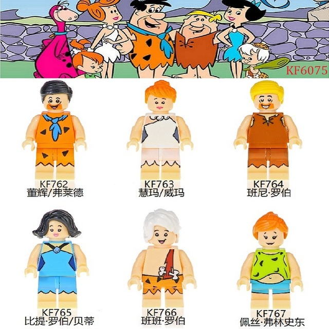 Single Sale Building Blocks Bricks Pretty Learning Fred Wilma Barney Rubble Betty Rubble Action Figures Toys For Children KF6075