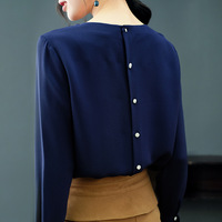 Spring 2019 High End Luxury 100% Real Silk Shirts and Blouses O neck Flare Sleeve Back Button Elegant Tops for Women P7950