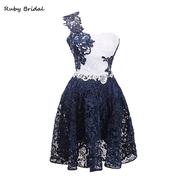 Ruby Bridal 2017 Vestidos De Fiesta Royal Blue And White Lace Mini ...