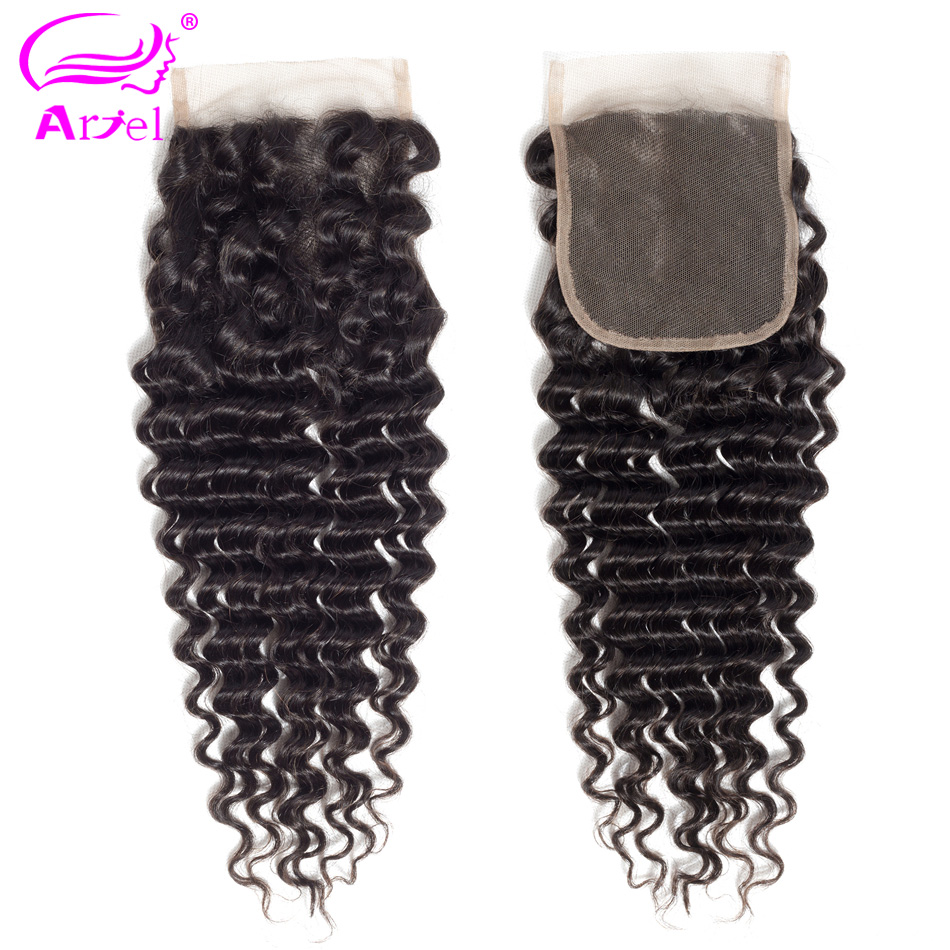 Ariel Brazilian Deep Wave 130% Density 4x4 100% Human Hair Curly Lace Closure Middle