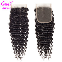 Ariel Hair Brazilian Deep Wave Closure 130% Density 4x4 100% Human Hair Deep Curly Lace Closure Free Middle Three Part Non Remy(China)