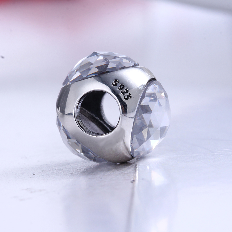 100% 925 Sterling Silver Fit Original Pandora Bracelet Radiant Droplet Royal Purple Crystals Charm Beads for Jewelry Making Gift