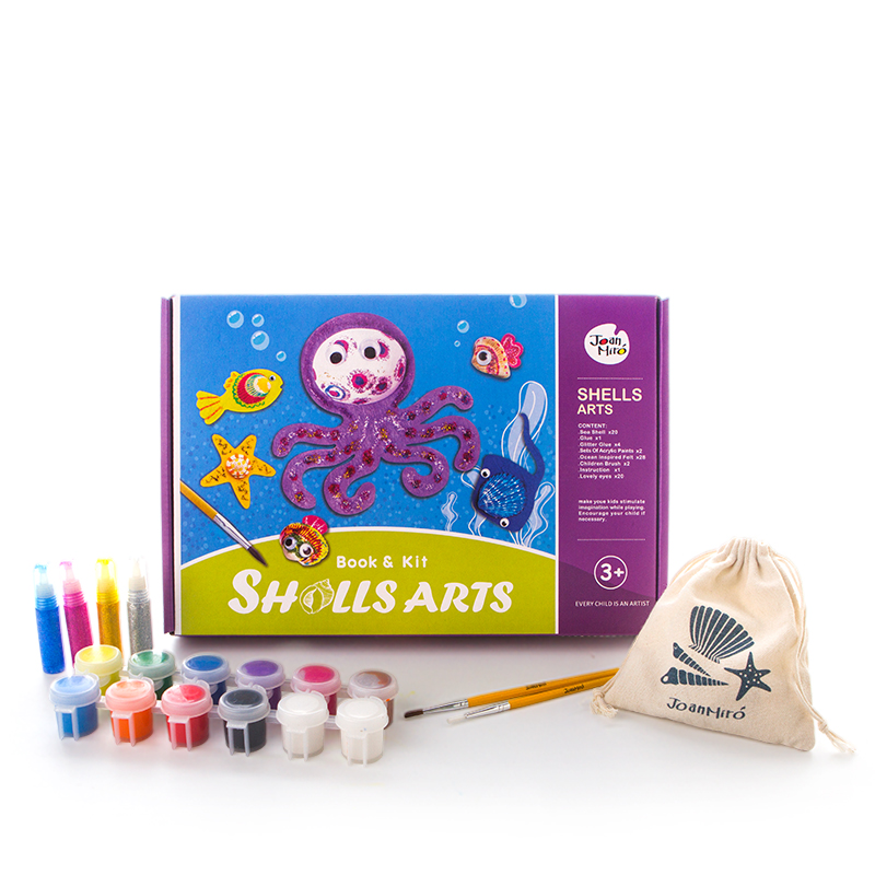 Brand New children shells paintings / Kids baby drawing toys with 20 pcs shells and 12 colors Pigment for educational toys
