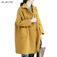 Women Wool Coat 2017 New Autumn Winter Fashion Warm Turn Down Collar Coat Loose Casual Female