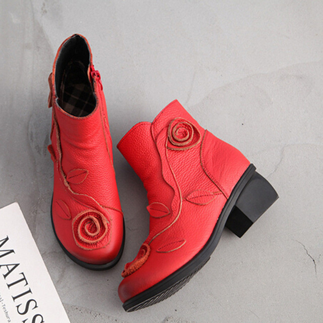 Candy Color Women Hot Retro Design Ethnic Style Martin Boots Hand-Stitched Flowers Luxury Designer Shoes Leather Retro Boots