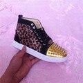 2016 леопардовым принтом 100% натуральная кожа заклепки женщин высокого верха обуви плоские туфли для женщин