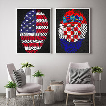 Fingerprint map Croatia Krafts Paper Wall Art Crafts Sticker Cafe Bar Design Home Living Room Print Picture Free Ship 42x30cm(China)