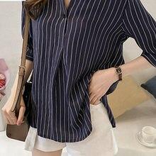Plus Size Camisa Blusa Parágrafo Como Mulheres Artigo Camisas Listradas Moda Mangas Trimestre Chiffon Blusas Mujer Femme