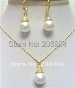 Pretty White S Pearl Earring Pendant Necklace Set Fashion Jewelry