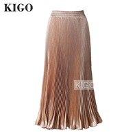 KIGO Women Metallic Pleated Skirt Summer 2016 Maxi Gold Flared High Waist Skirt Long Party Skirt Jupe Longue Saia K20