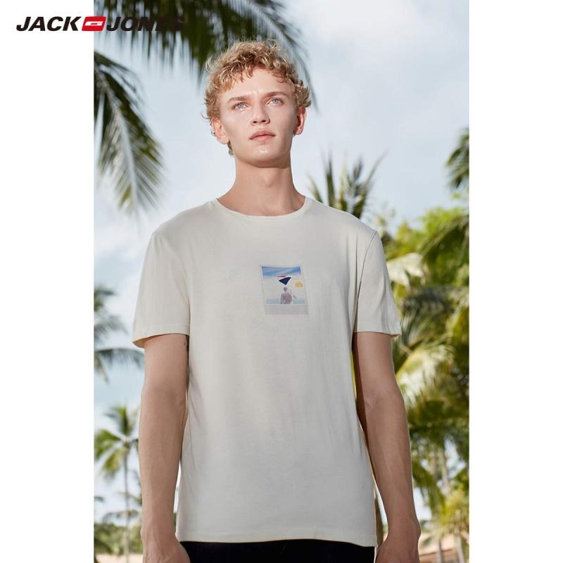 Jack Jones Men's 100% Cotton Printed T-shirt Beach Style Top JackJones Menswear 219101527