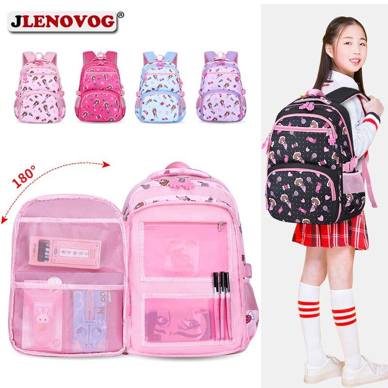Kids Large schoolbag cute Student School Backpack Floral Printed Waterproof bagpack primary School Book bags for teenage girls(China)