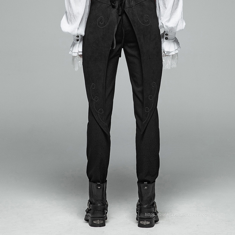 فاسق الهذيان جديد القوطية الشكل نمط الرجال أسود السراويل أزرار الديكور حزب عارضة عالية الجودة العسكرية البصرية كى السراويل-في سروال كاجوال من ملابس الرجال على  مجموعة 3