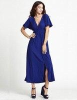 2017 새로운 여성 여름 dress 플러스 사이즈 5xl 6xl 섹시한 클럽 dress 깊은 v 넥 단색 긴 맥시 dress 블루/레드 우아한 파티 드레