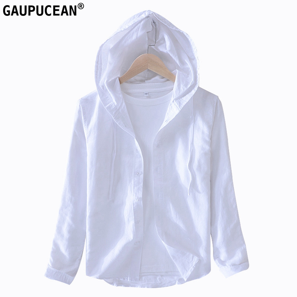 55% Linen 45% Cotton Anti-static Breathable Cool Dry Fast Long Sleeve Man Shirt Male Solid Quality Casual Men Hooded Shirts