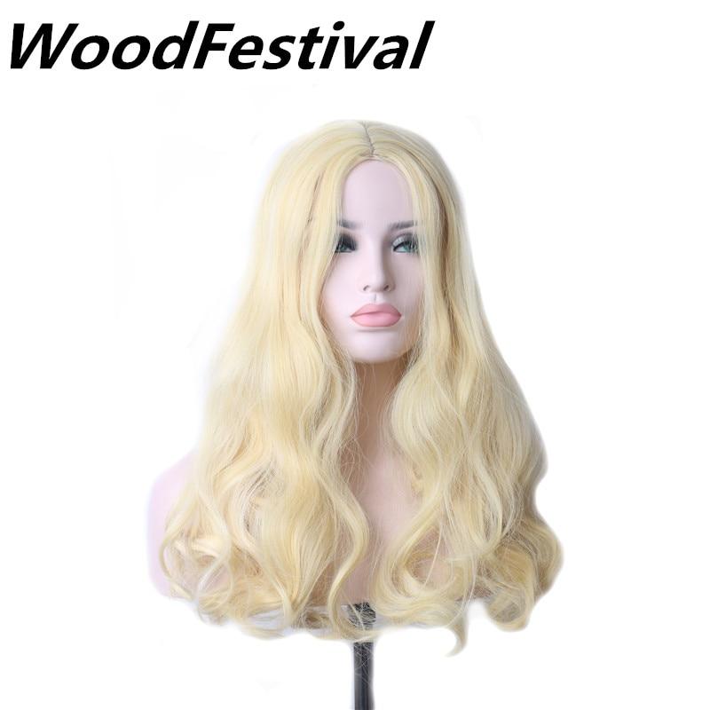 Woodfestival Medium Length Wig Curly Blonde Wig Cosplay