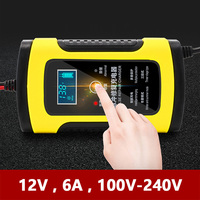 12V 6A Universal Motorcycle Car Battery Charger Intelligent Pulse Repair LCD Voltage Current Display for 7A 10A 20A Acid GEL AGM