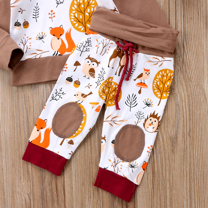 Print Animals Infant Kids Baby Boy Girl Clothes Top Hoodie T-shirt+ Long Pants Outfits Clothes Set