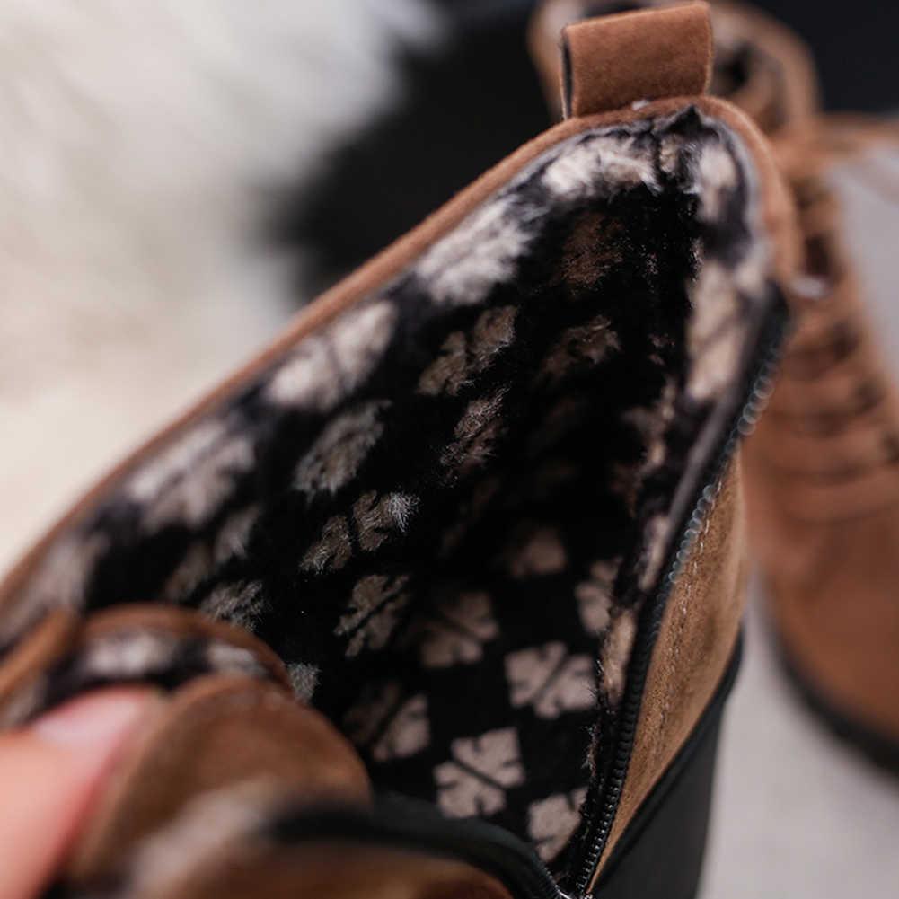 KARINLUNA Yeni Geniş Med Topuklu 7 cm Zip Çapraz Bağlı platform ayakkabılar Kadınlar Için Rahat Sonbahar Kış yarım çizmeler Kadın Boyutu 35 -40