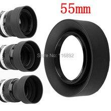 10 개/몫 55mm 3 단계 3 in1 접이식 고무 접이식 렌즈 후드 55mm dsir 렌즈 캐논 니콘 소니 펜탁스 후지 필름 카메라
