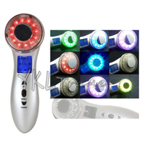 Portable 7 Colors Lights LED Skin Rejuvenation Face Photon Therapy Ultrasound Body Ultrasonic Facial Massager Spa
