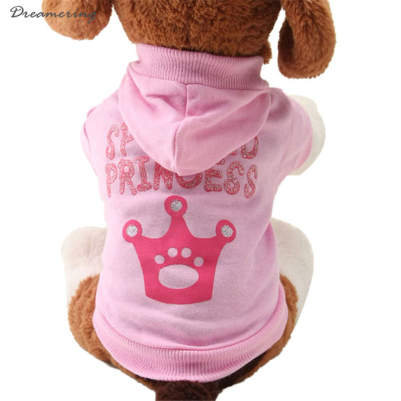 New Pink Pet Dog Clothes Crown Pattern Puppy Clothing Coat Hooded Cotton T Shirt High Quality Hot Sale Free Shipping J 20