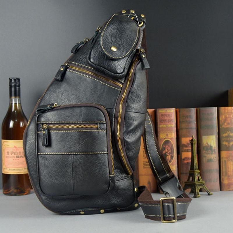 Men Genuine Leather Chest Bag famous brand Chest Shoulder Messenger Bags Casual Vintage Sling Back Pack