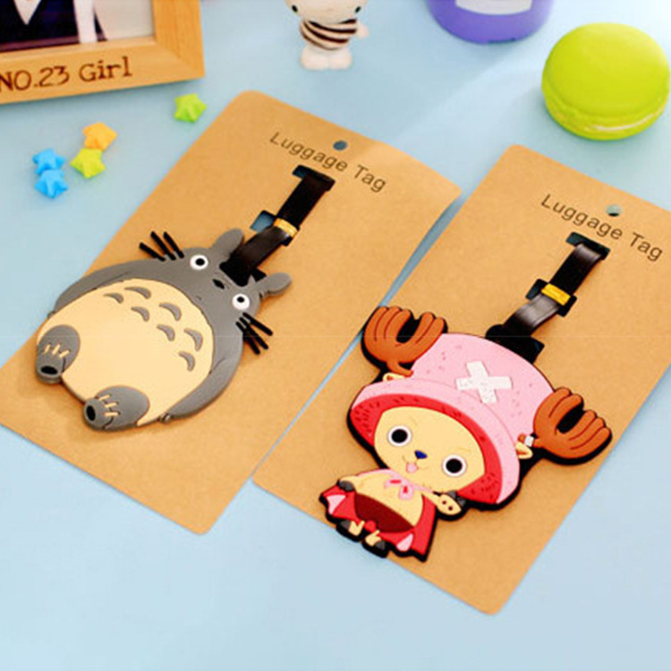 Fashion Cartoon Luggage Tag Travel Accessories Cute Owl Cheese Superman Spongebob Suitcase Silicon Name Labels