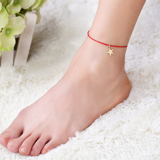 Boho Minimalist Red Thread Ankle Bracelet Cute Star Fatima ...