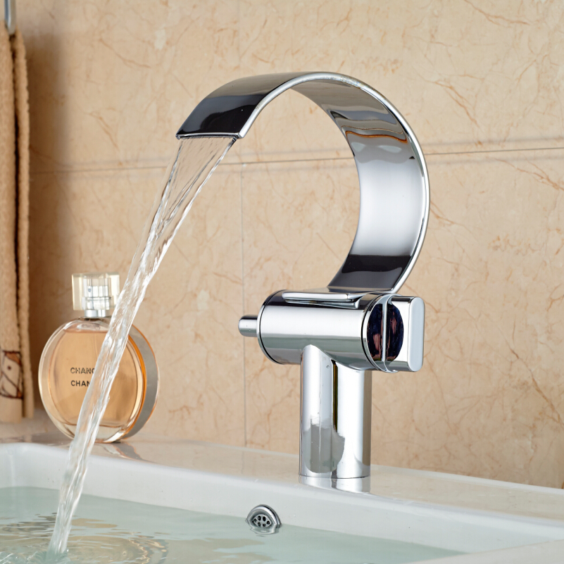 ФОТО Chrome Brass Waterfall Basin Sink Mixer Taps Double Handle Width Spout Bathroom Faucet with Hot and Cold Water