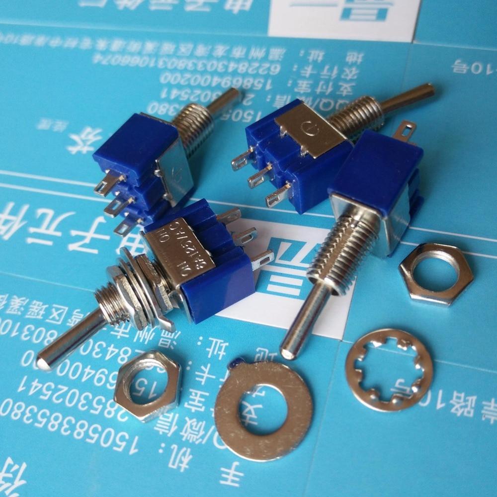 ZLinKJ 10pcs/lot Mini MTS-102 3-Pin SPDT ON-ON 6A 125VAC Toggle Switches Wholesale
