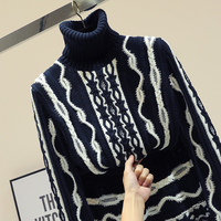 2018 Autumn Winter Turtleneck Sweater Woman Korean Style Runway Black and White Stripe Color Jacquard Pullover Knit Coat