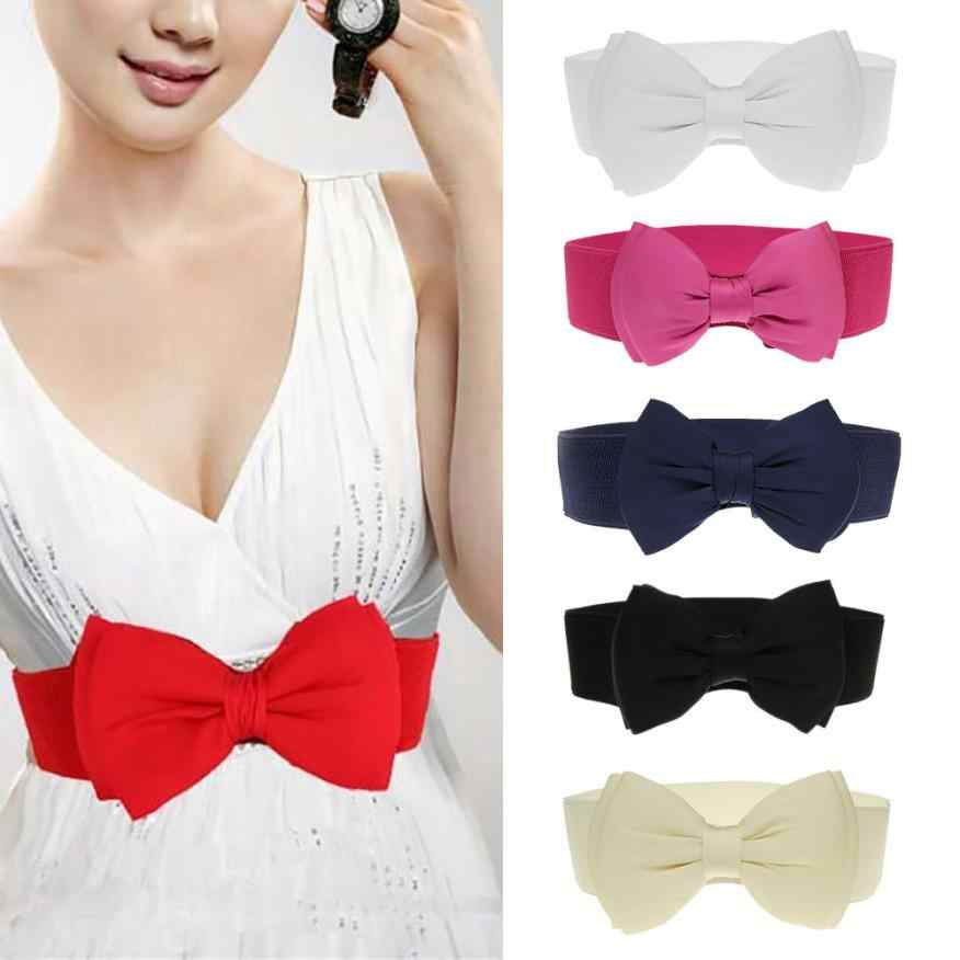 2018 elegante doce grande arco cintura elástica vestido largo estiramento novo designer cintos para mulheres do vintage meninas cinch cinto 18june22