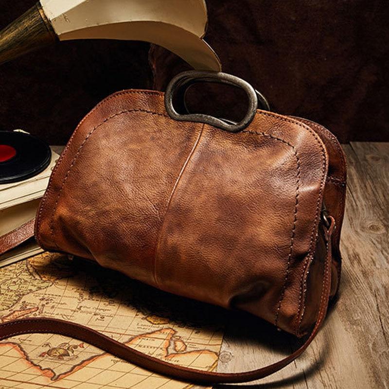 2018 Vintage Genuine Leather Bag Women Handmade Leather Bag Retro Cow  Leather Shoulder Bag Leisure Handbag f8d6d2f88817