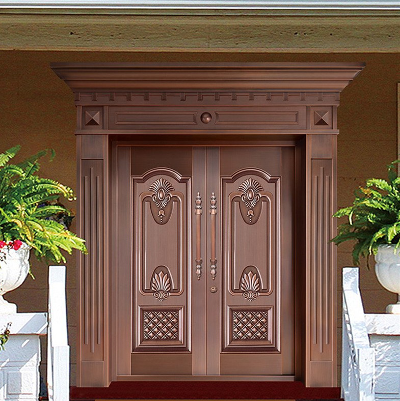Bronze Door Security Copper Entry Doors Antique Copper Retro Door Double Gate Entry Doors H-c17