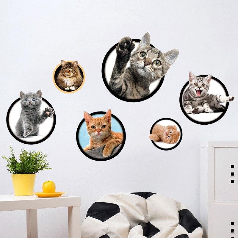 3D Wallpaper Vinyl Perekat Gratis Desktop Wallpaper Modern Lucu Kreatif Kucing Restoran Koridor Tangga Dekorasi Stiker